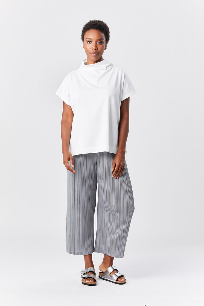 Pleats Please by Issey Miyake - easy tee top, white