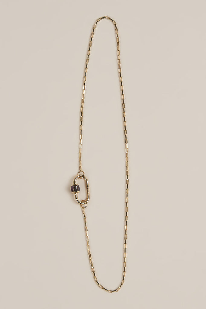 Square Link Chain Necklace with Medium Baguette Lock