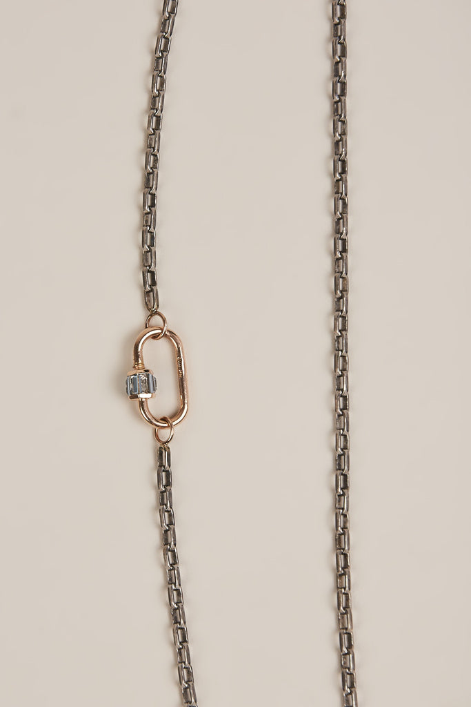 Biker Chain Necklace with Medium Baguette Lock