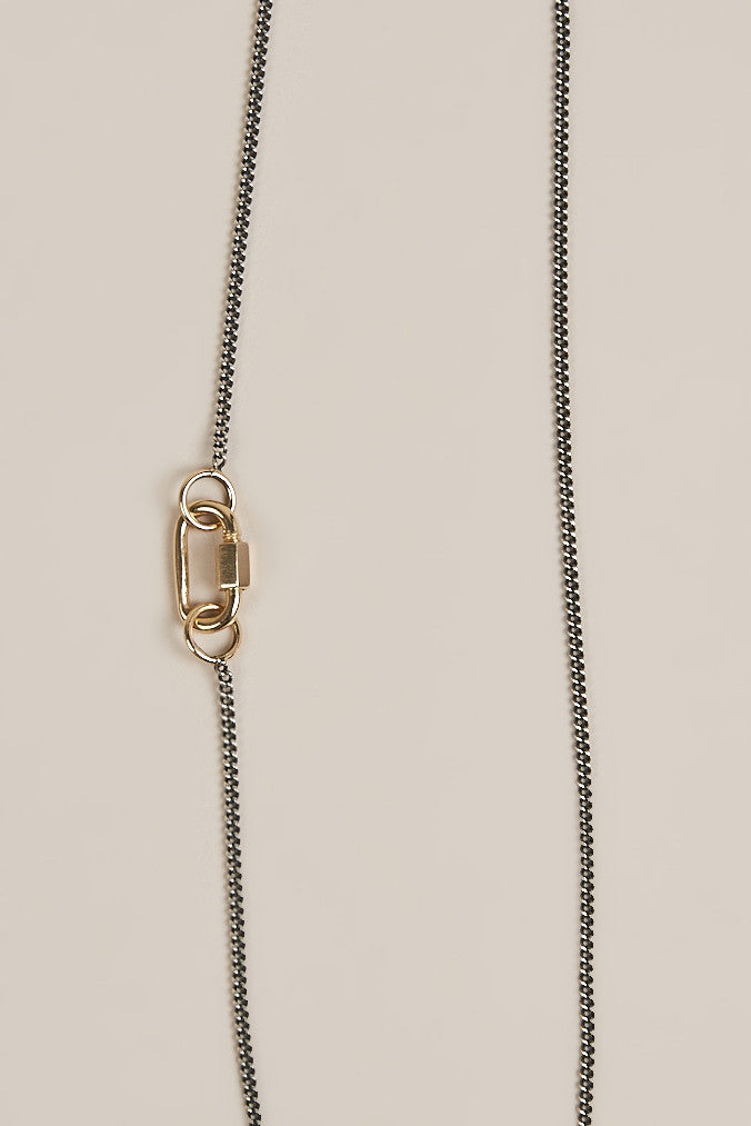 Silver Curb Chain with Gold Baby Lock