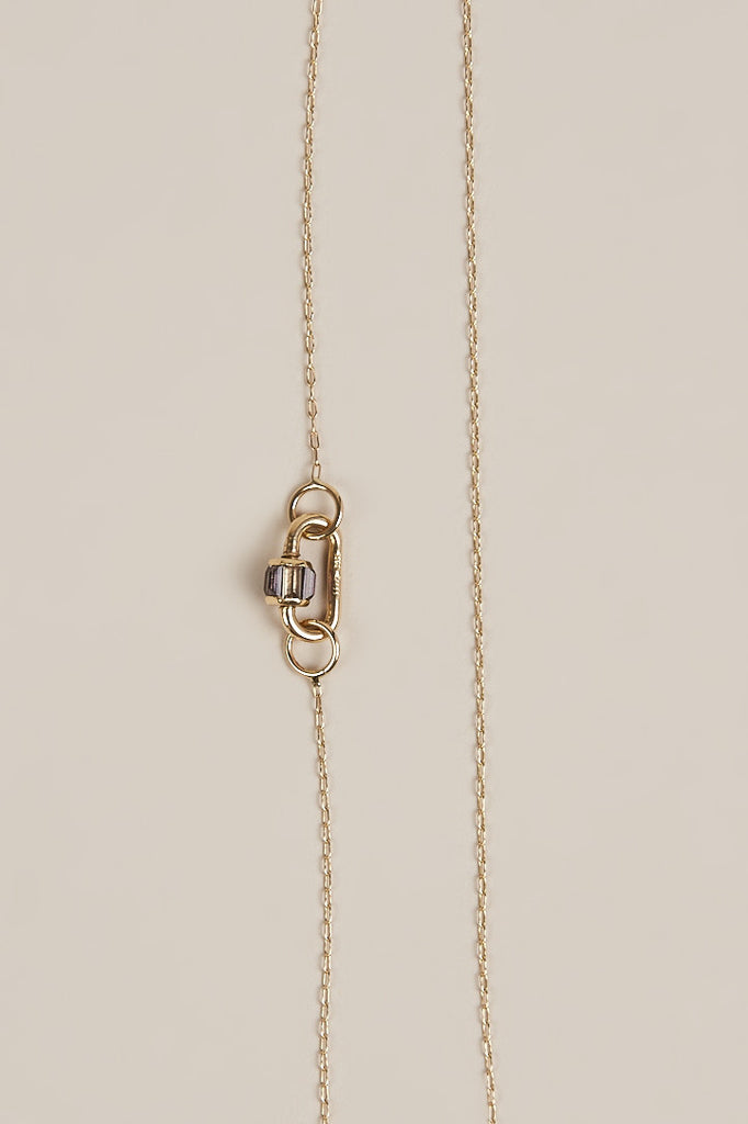 Fine Square Link Chain Necklace with Mauve Sapphire Baby Lock