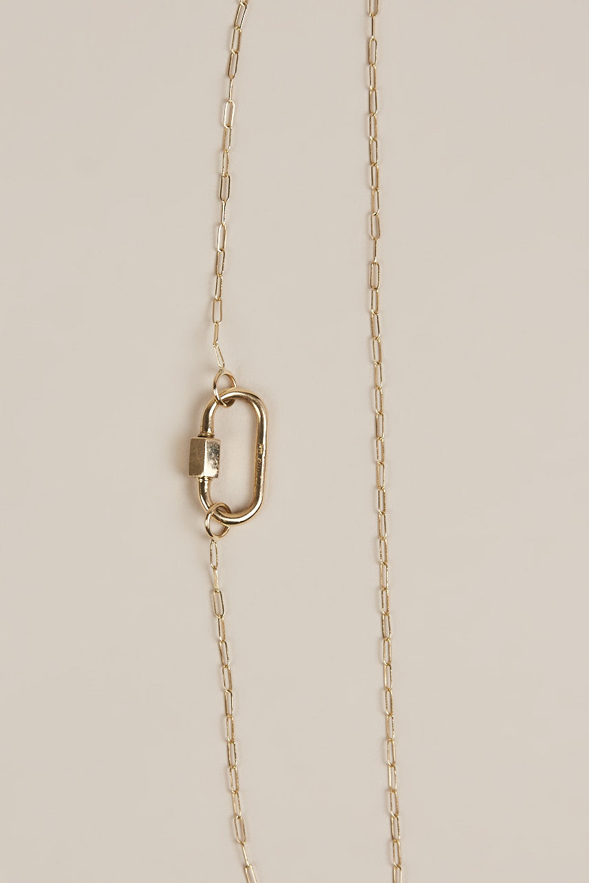 Marla Aaron - Gold Square Link Chain with Medium Lock - Necklaces