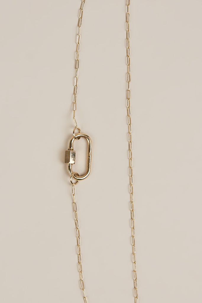Gold Square Link Chain with Medium Lock