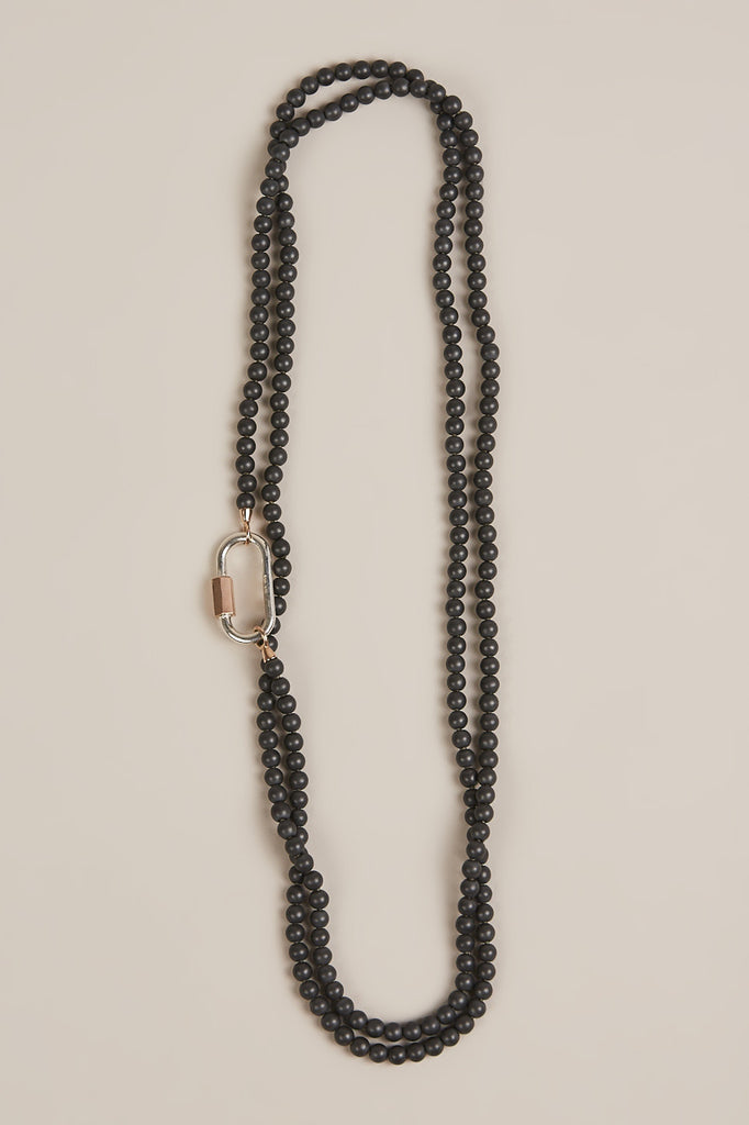 Hematite Necklace w/ Rose Gold & Silver Loops and Lock