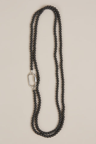 Buffed Hematite Necklace with Silver Lock