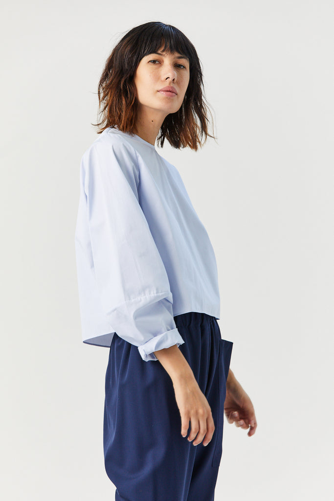 Perche Short Top, Fine Blue Stripe