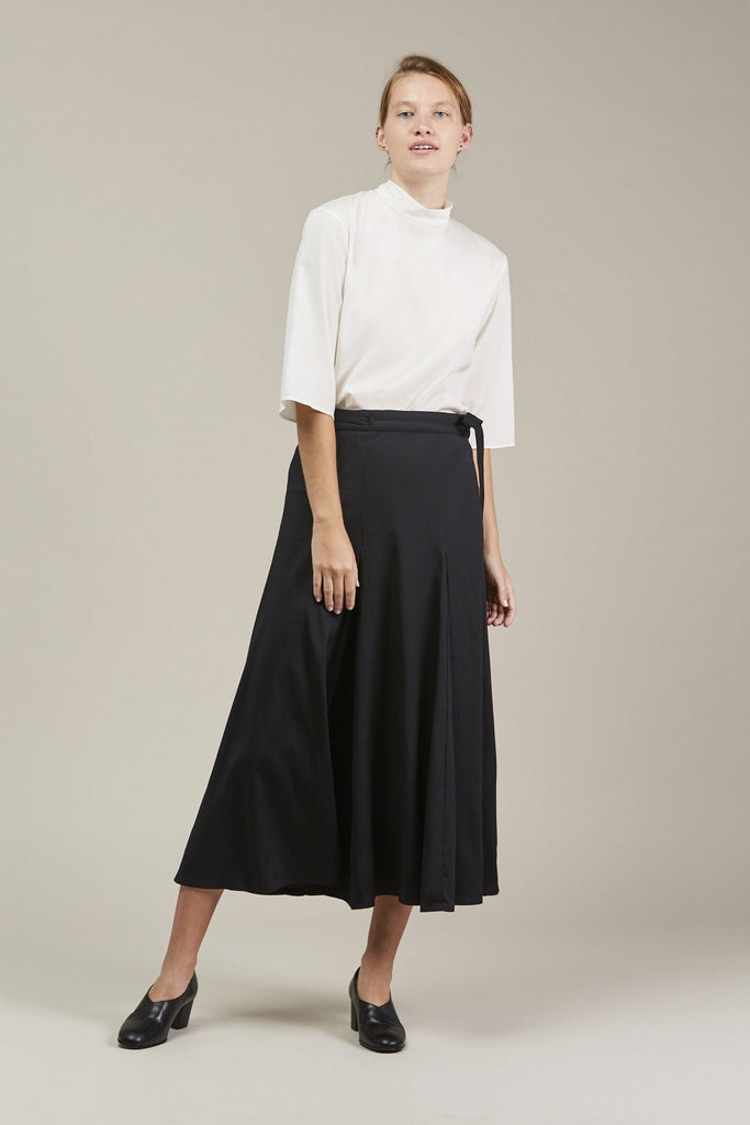 Wrap Over Skirt, Black by Lemaire @ Kick Pleat - 2