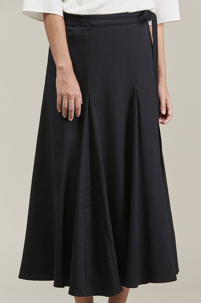 Wrap Over Skirt, Black by Lemaire @ Kick Pleat - 3