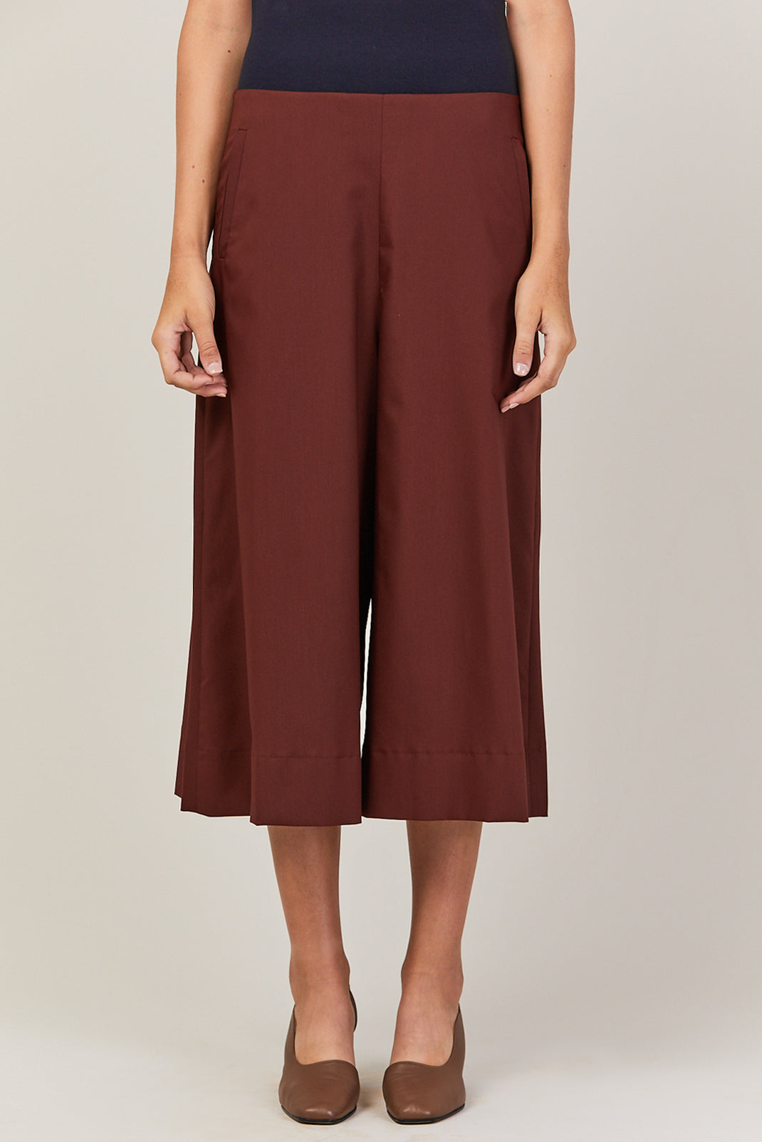 Cropped Wide Pants, Brick