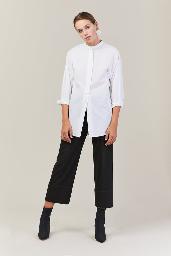 Band Collar Shirt, White