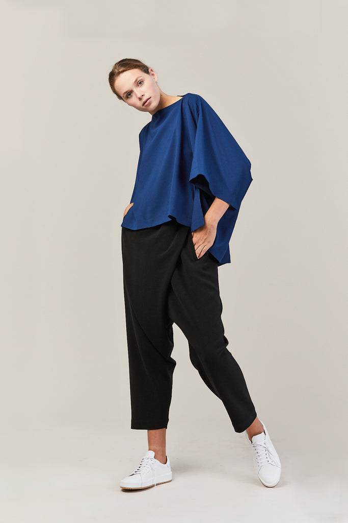 Drape Blouse, Dark Blue
