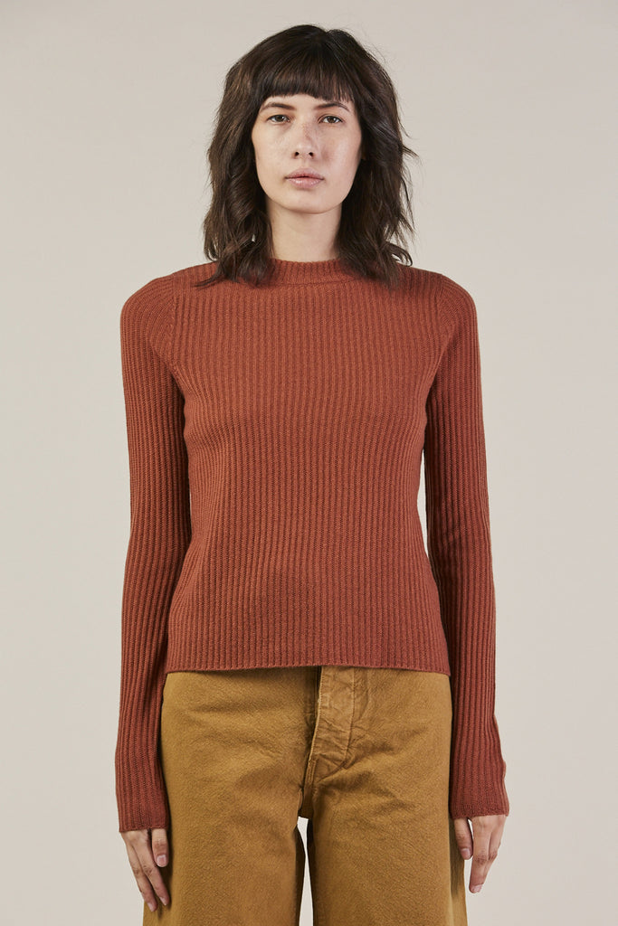 Mock Neck L/S Sweater, Rust