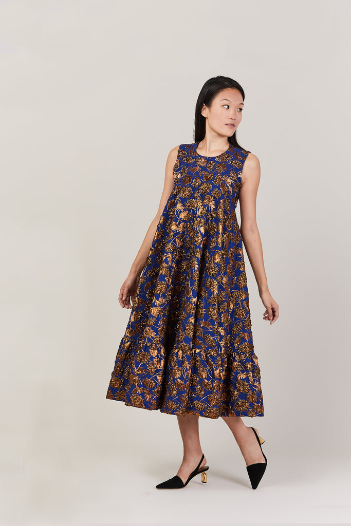 Gerbera floral-brocade dress, blue