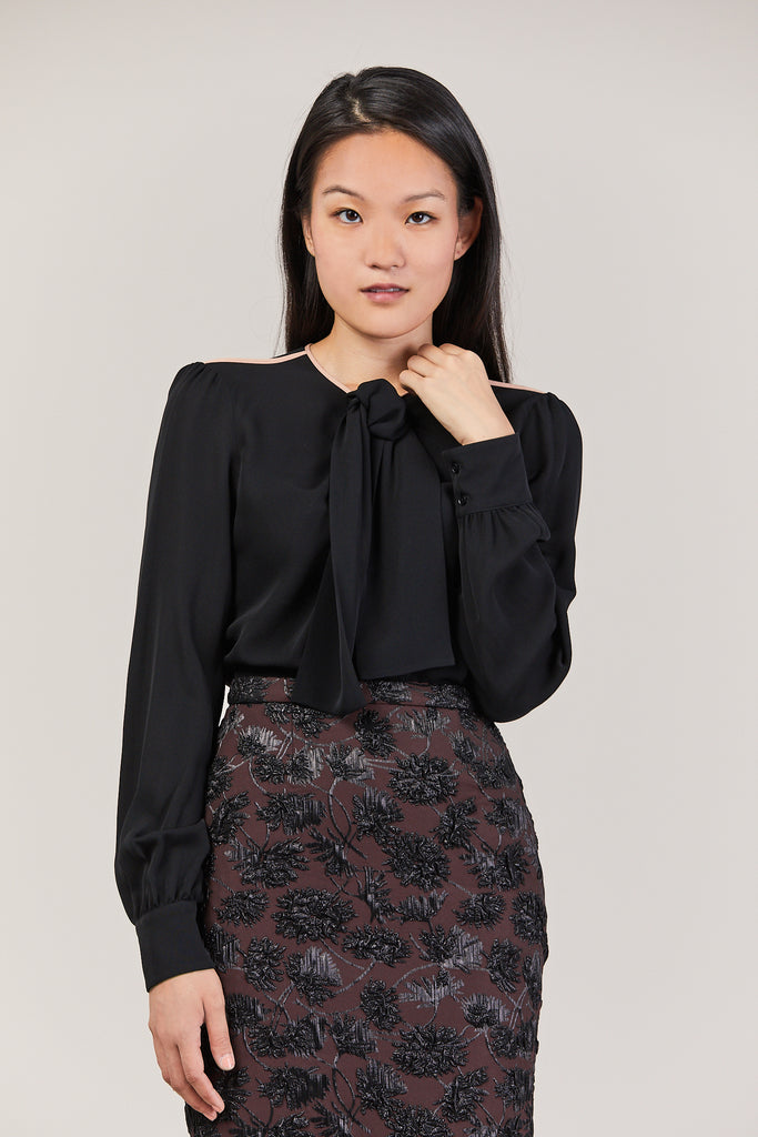 Long Sleeve Silk Blouse, Black