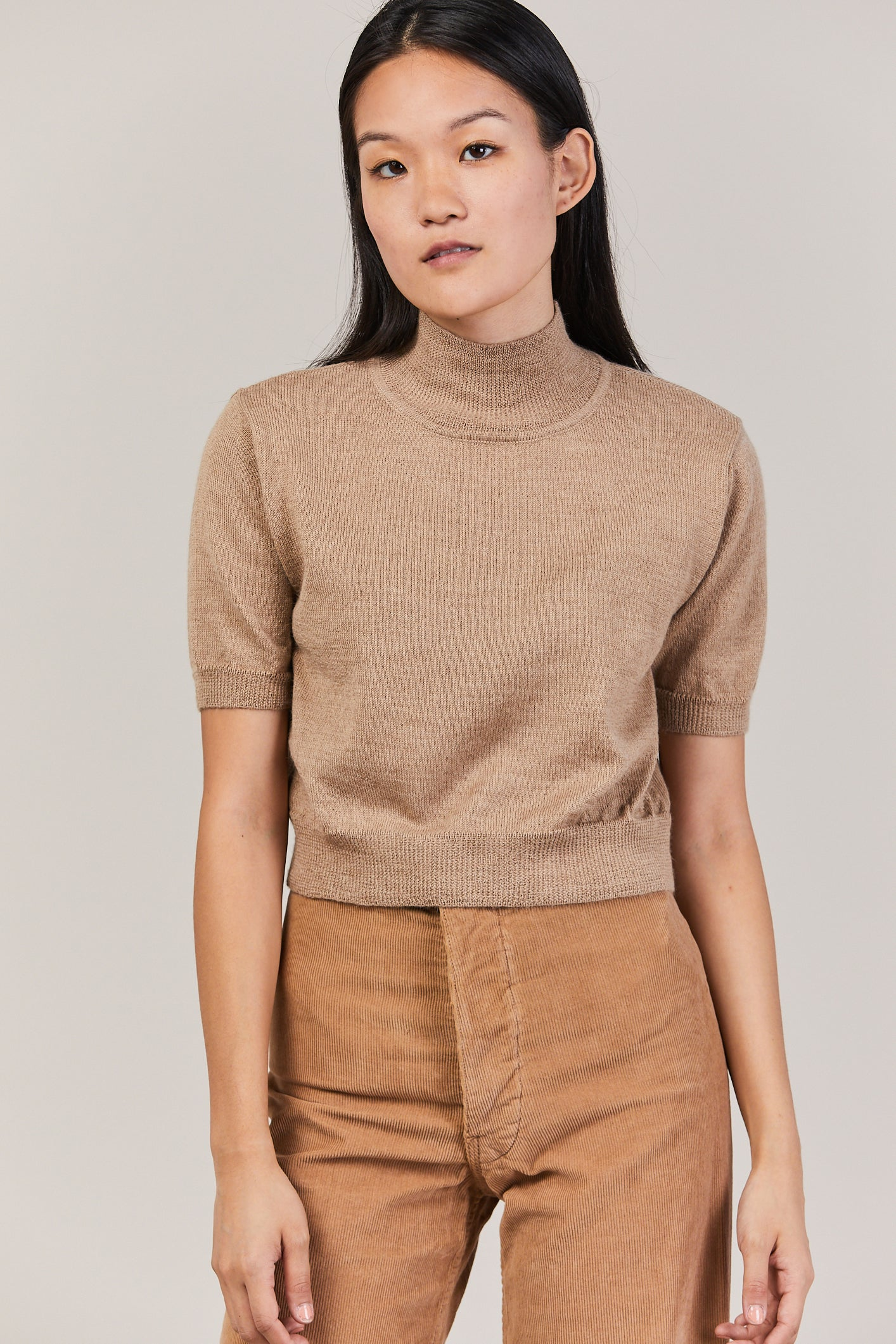 Cropped Knit Tee, Camel