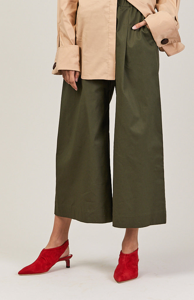 Wide Crop Pant, Army Green