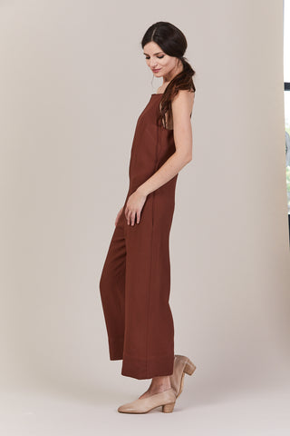 Cropped Strap Jumpsuit, Clay