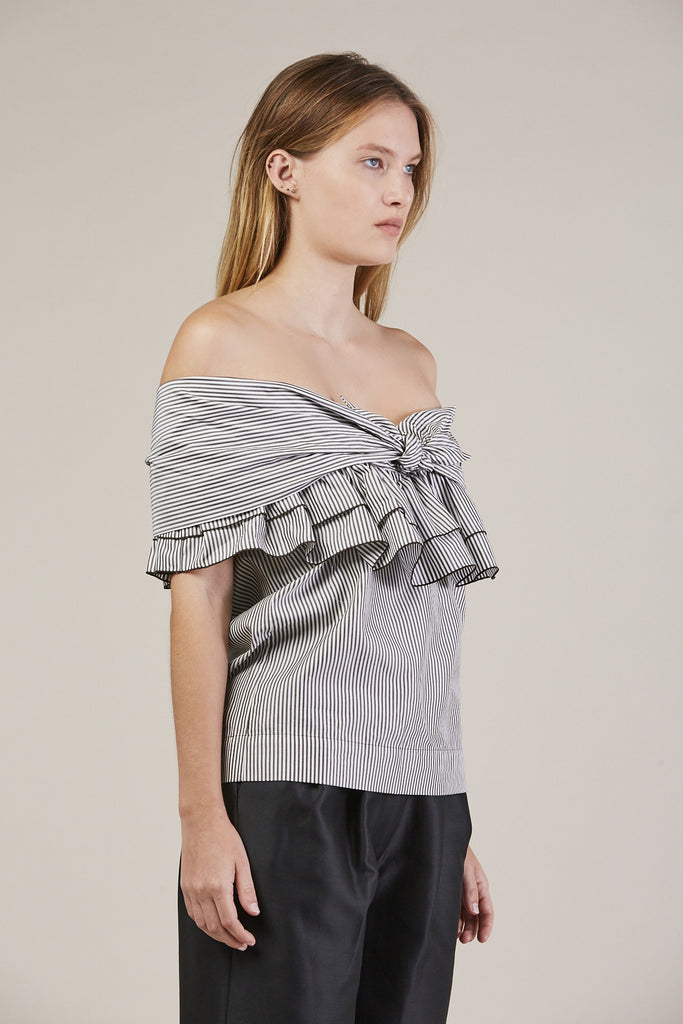 Ruffle Knot Top, Domino Stripe by Isa Arfen @ Kick Pleat - 3