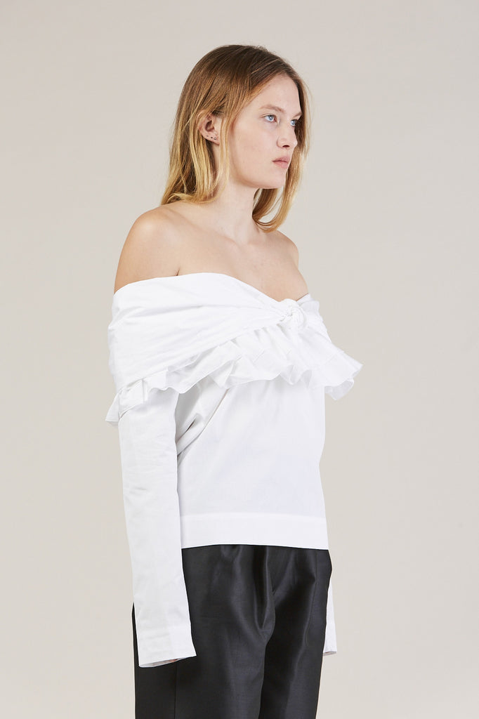 Ruffle Knot L/S Top, White by Isa Arfen @ Kick Pleat - 3