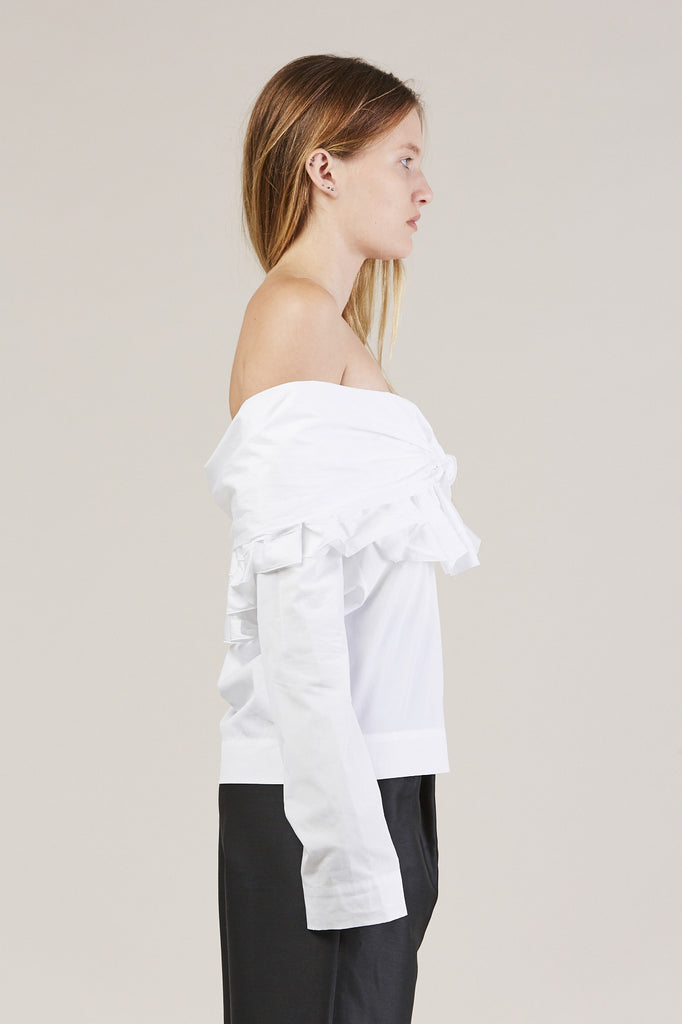 Ruffle Knot L/S Top, White by Isa Arfen @ Kick Pleat - 4