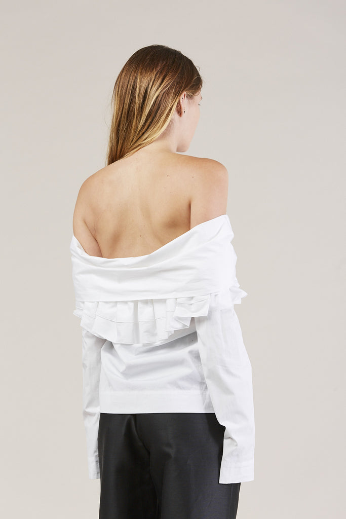 Ruffle Knot L/S Top, White by Isa Arfen @ Kick Pleat - 5