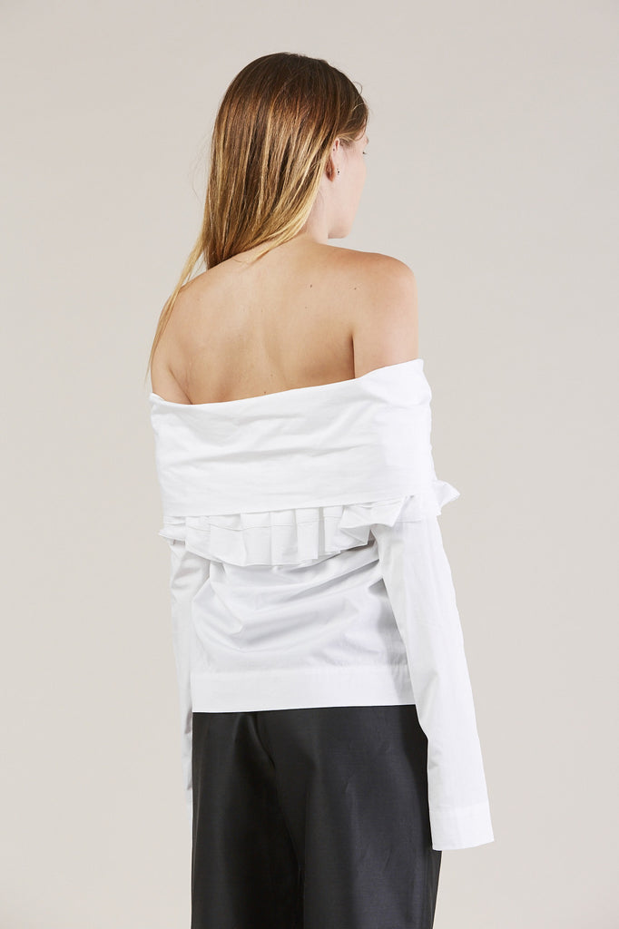 Ruffle Knot L/S Top, White by Isa Arfen @ Kick Pleat - 6