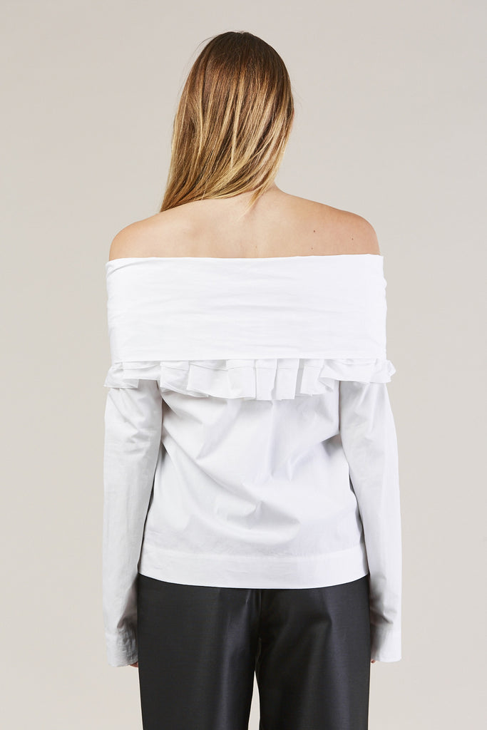 Ruffle Knot L/S Top, White by Isa Arfen @ Kick Pleat - 7