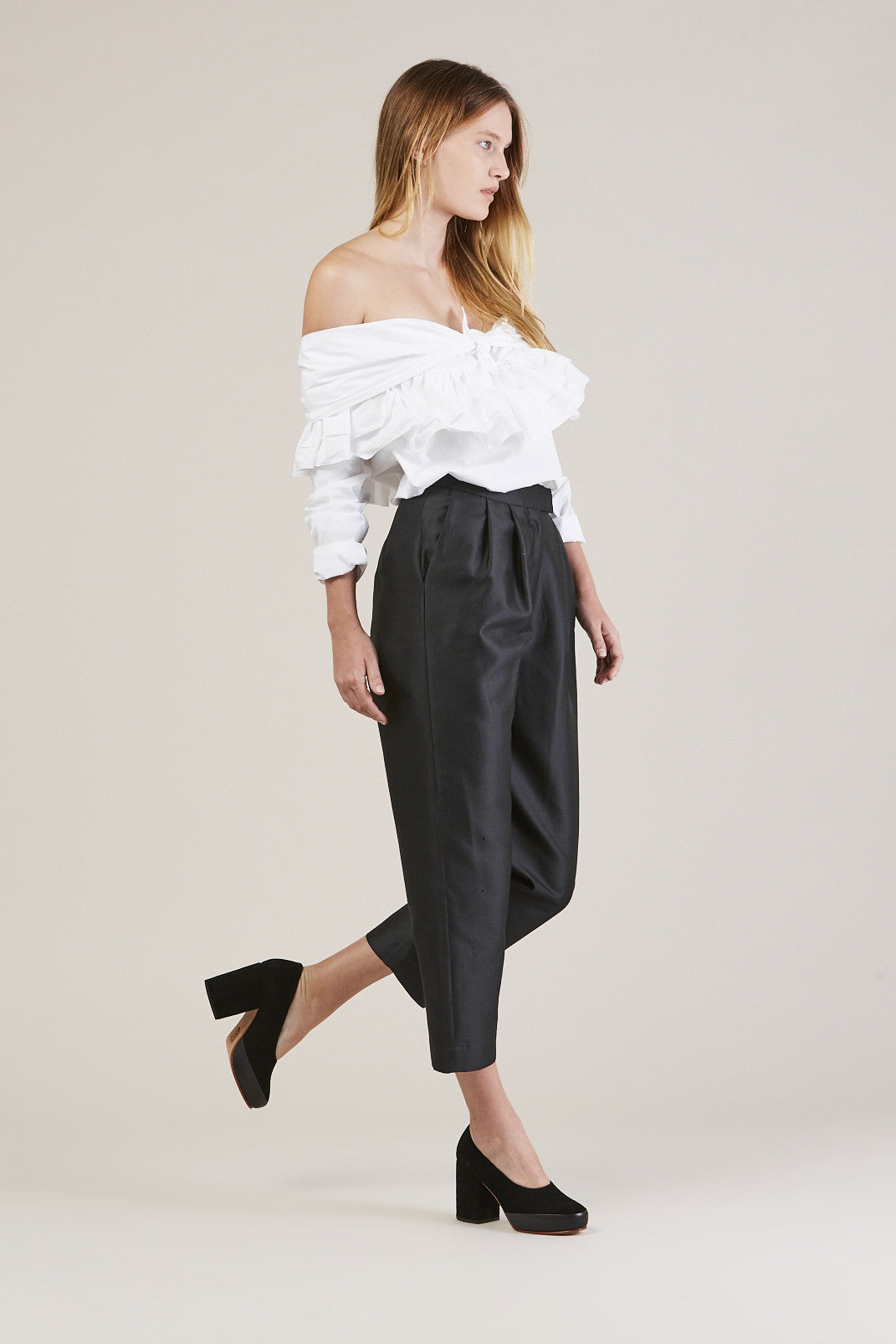 Ruffle Knot L/S Top, White by Isa Arfen @ Kick Pleat - 1