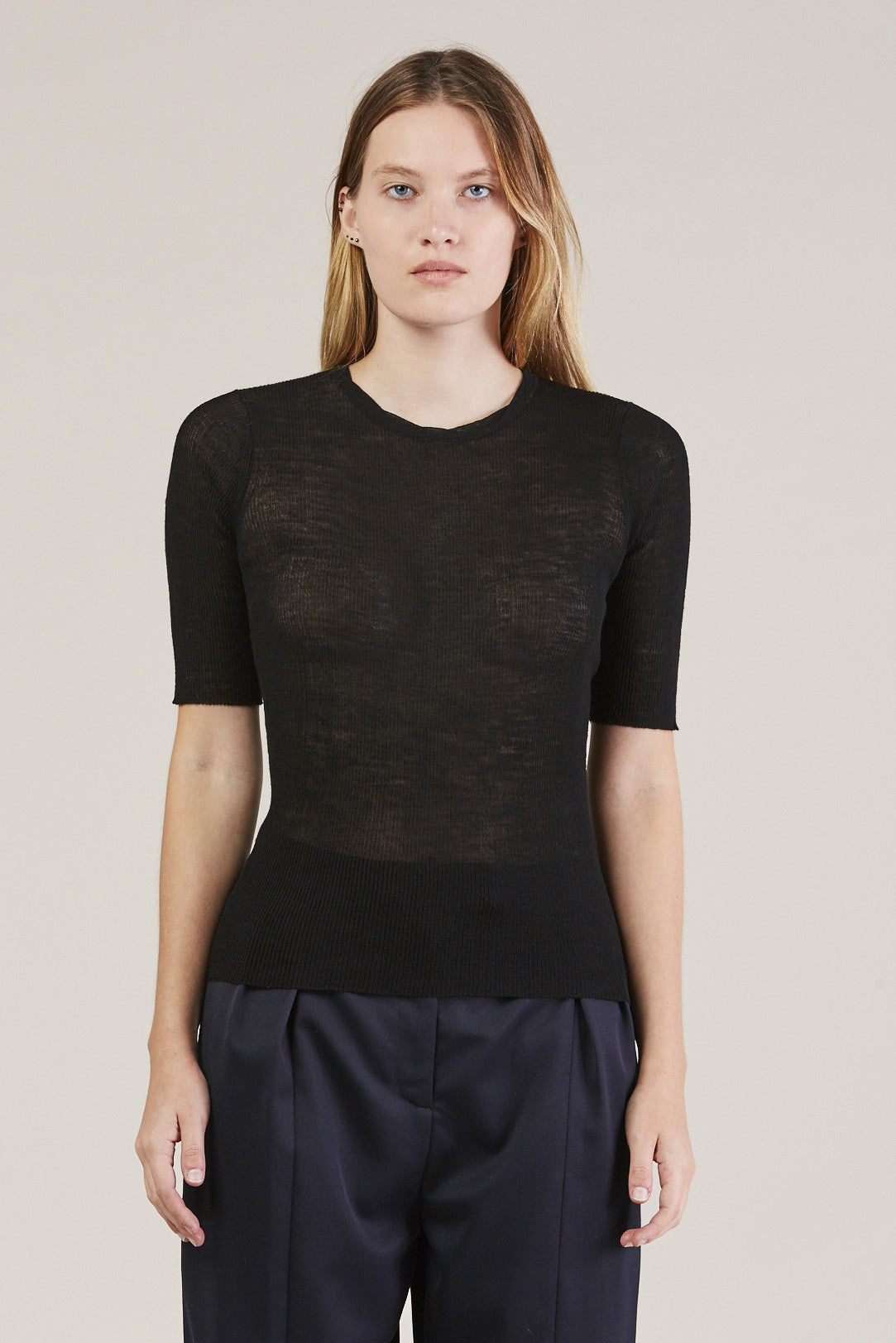 HALF SLEEVE TOP, Black by Creatures of Comfort @ Kick Pleat - 1