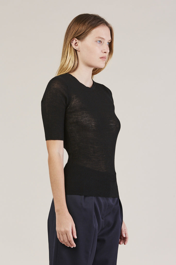 HALF SLEEVE TOP, Black by Creatures of Comfort @ Kick Pleat - 3