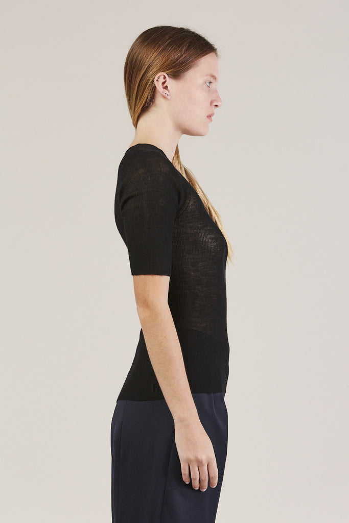 HALF SLEEVE TOP, Black by Creatures of Comfort @ Kick Pleat - 4