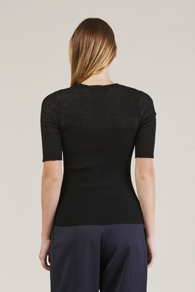 HALF SLEEVE TOP, Black by Creatures of Comfort @ Kick Pleat - 6