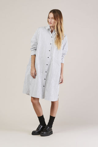Johnson Striped Dress, Black/White