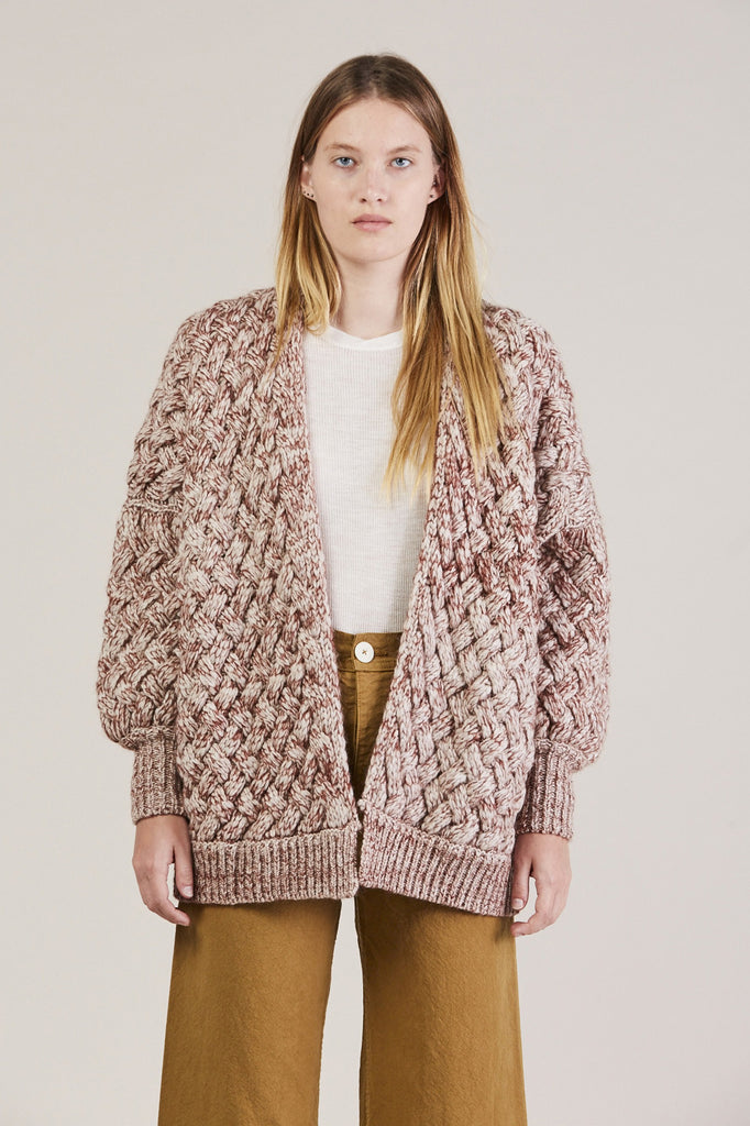 Cable Knit Cardigan, Wine