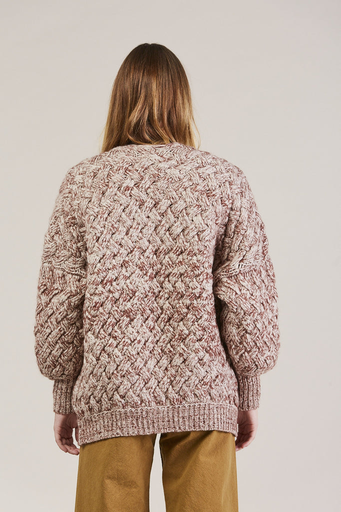 Cable Knit Cardigan, Wine by Humanoid