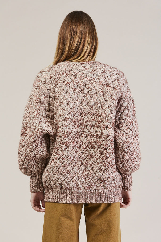 Cable Knit Cardigan, Wine by Humanoid @ Kick Pleat - 7