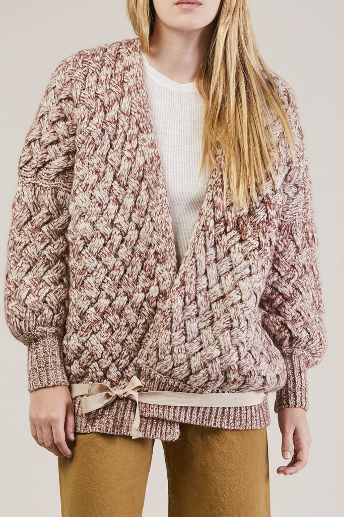 Cable Knit Cardigan, Wine by Humanoid @ Kick Pleat - 8