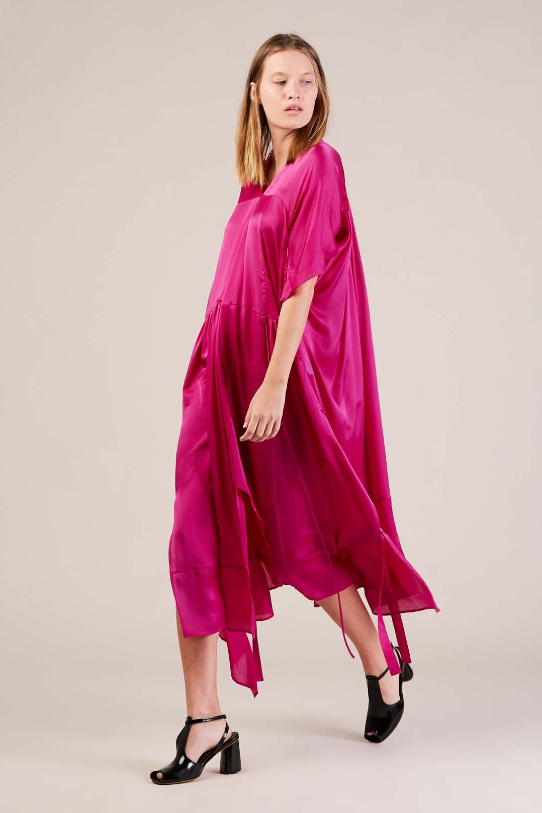 Daco s/s dress, floral fuchsia by Christian Wijnants