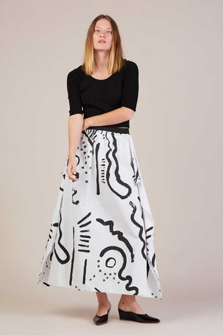 Handkerchief skirt, Black/White