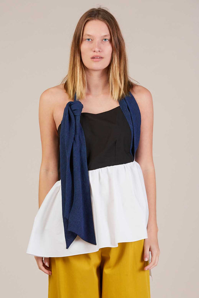 Knot halter top, Blue/White/Black