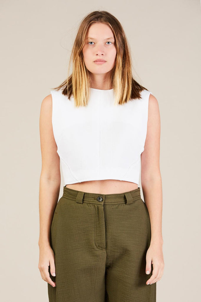 Cropped Bodice Top, White