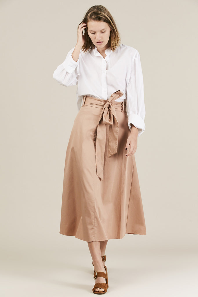 Satin Poplin Wrap Skirt, Beige