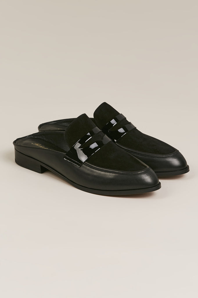 Allan Penny Loafer Slide, Black Suede