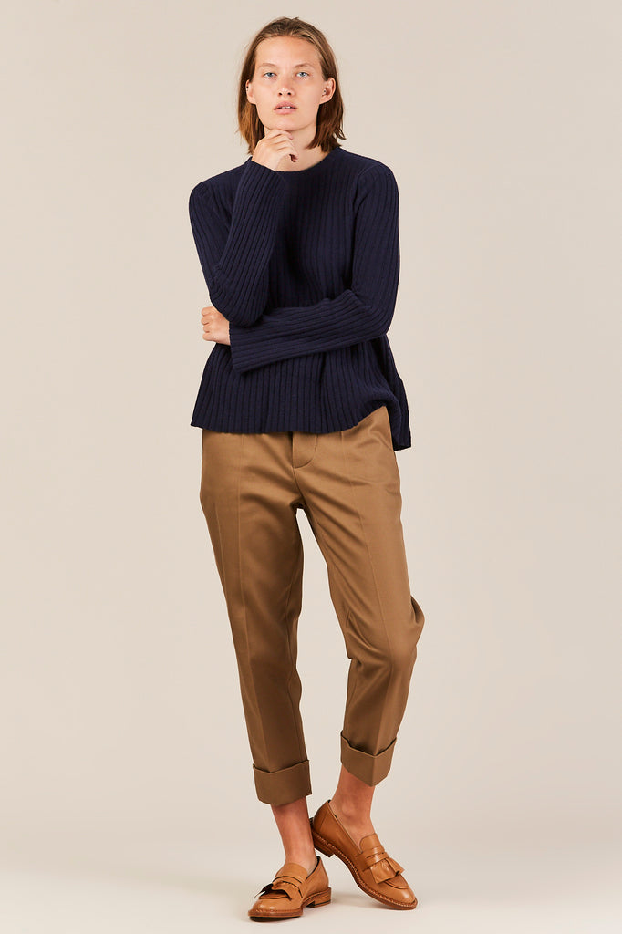 Ribbed Sweater w/ Trumpet Sleeve, Navy