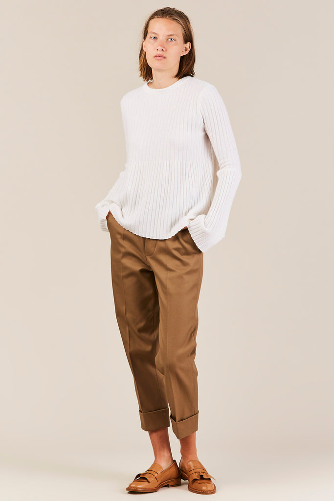 Ribbed Sweater w/ Trumpet Sleeve, Cream