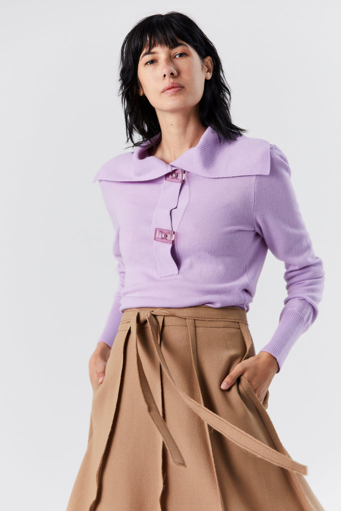Polo Knit Top, Mauve