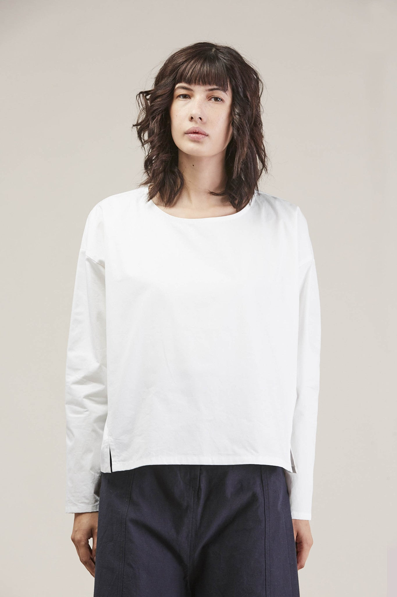 Suma L/S Short Top, White by PRIORY @ Kick Pleat - 1