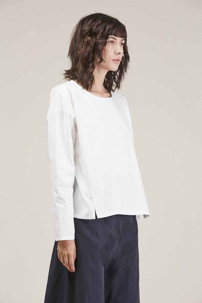 Suma L/S Short Top, White by PRIORY @ Kick Pleat - 3