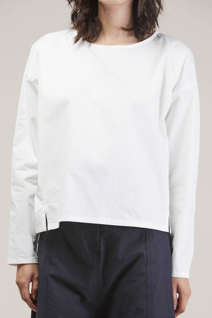 Suma L/S Short Top, White by PRIORY @ Kick Pleat - 7