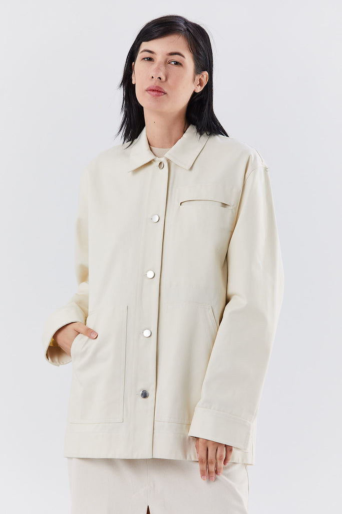 oversized chore jacket, natural